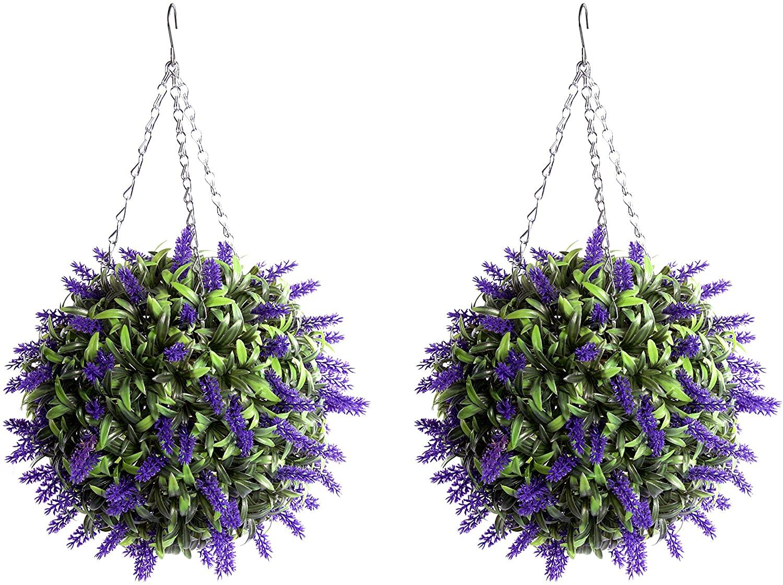 Best Artificial Purple Lush Lavender Long Leaf Topiary Grass Flower Balls