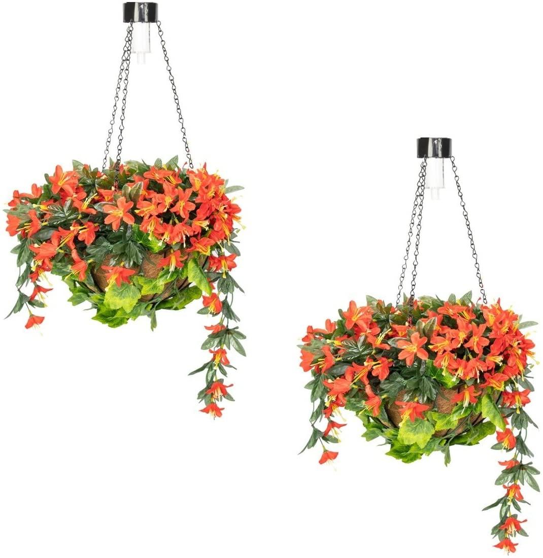 Primrose Duranta Artificial Hanging Baskets with Solar Light