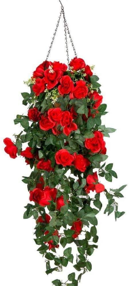 Dyna-Living Artificial Hanging Flower, Hanging Basket Silk Garland Flower Rose Vine for Home Wedding Outdoor Decoration